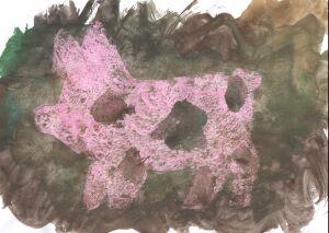 papiermachee varken herl groot
